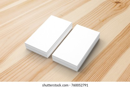 Blank business cards on wooden desk. 3d render to showcase your presentation.
