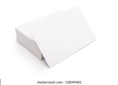 blank business cards stack up on white with clipping path, good for text & logo