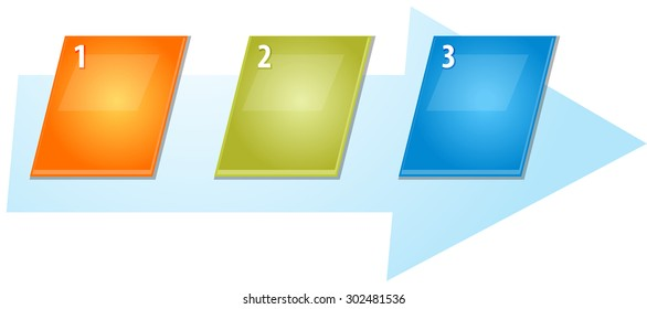 blank business strategy concept infographic diagram slanted numbered sequence arrow illustration Three 3