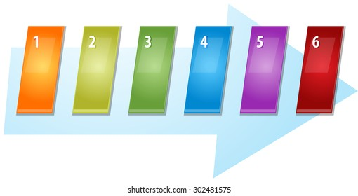 blank business strategy concept infographic diagram slanted numbered sequence arrow illustration  six 6
