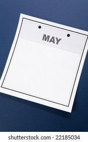 Blank Calendar, May, with blue background