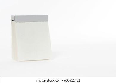 Blank calendar sheet from a tear off calendar
