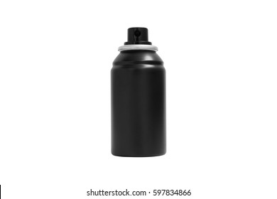 Blank canned black spray isolated on white background.