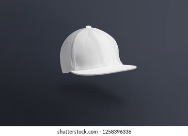 Blank cap in perspective view. White snapback on dark background. Blank baseball snap back cap for your design. Mock up hat cap for you logo, brand identity etc.