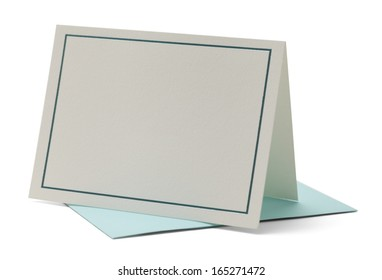 Blank Card with Blue Trip Isolated on White Background.
