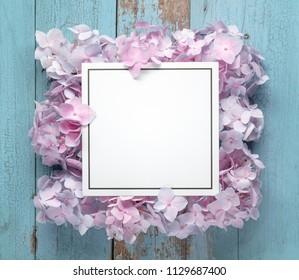 Blank card with flower petals,Closeup.