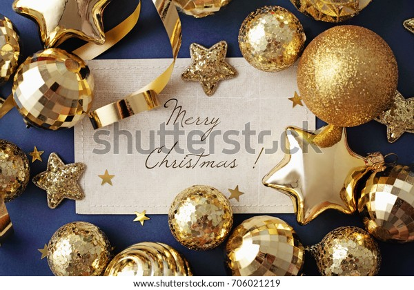 Blank Card Gold Christmas Ornaments On Stock Photo Edit Now 706021219