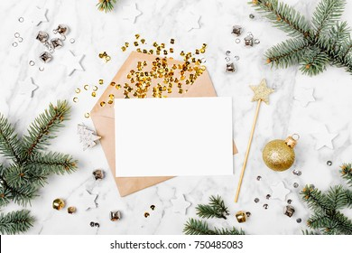 Blank card with golden streamers and sparkles. holiday mockup. Christmas concept. Flat lay, top view
