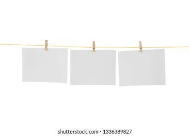 Blank Card Hanging on Clothesline