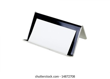 Blank card with a card holder with a clipping path.