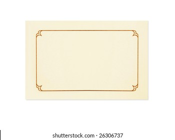 Blank card, isolated on white.  Could be a place card, name card, gift tag, thank you or invitation.