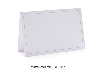 Blank card isolated on white background. Invitation,place card,name card,gift tag, thank you card,etc.