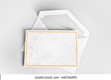 Blank card with yellow frame and envelope