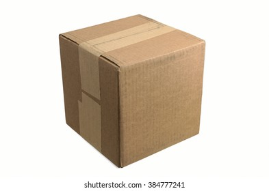 Blank Cardboard Box Taped and Ready for your Copy