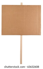 Blank cardboard protest sign isolated on white background