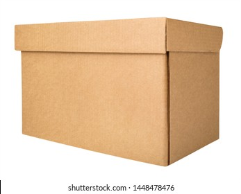 Blank cardboard storage box. Closed brown box isolated on a white background