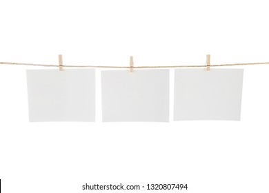 Blank Cards Hanging on Clothesline