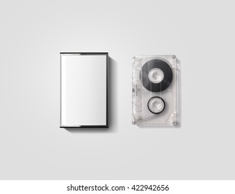 Blank cassette tape box design mockup, isolated, clipping path. Vintage cassete tape case with retro casset mock up. Plastic analog magnetic clear packaging template. Mixtape box cover.