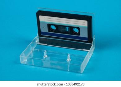 blank cassette tape box on blue stock photo edit now 1053492179