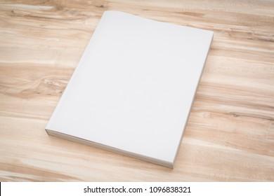 Blank catalog, magazines,book mock up on wood background.