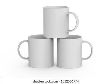 Blank ceramic mug cup put a cup on a cup on white background
