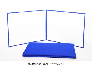 blank certificate template with blue silk cover isolated