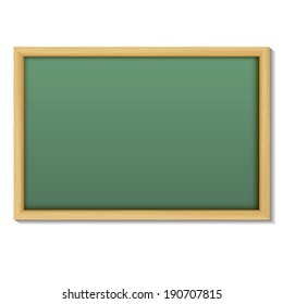 Blank chalk green board in a wood  frame for write and teach on white background.
