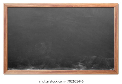 Blank chalkboard with wooden frame isolated on white background. can add your own text on space.