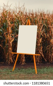Blank chart noticeboard in cornfield as mock up copy space for infographic design