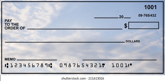 Blank Check With Blue Sky Background.  Fake Numbers For Account Information.