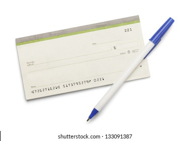 Blank check book with pen isolated on a white background.