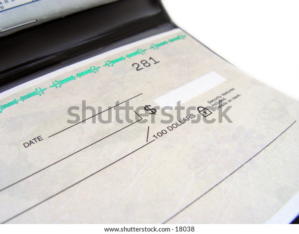 Blank Check book, taken closeup
