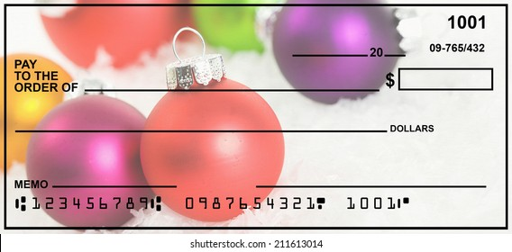 Blank Check With Christmas Ornament Background.  Fake Numbers For Account Information.