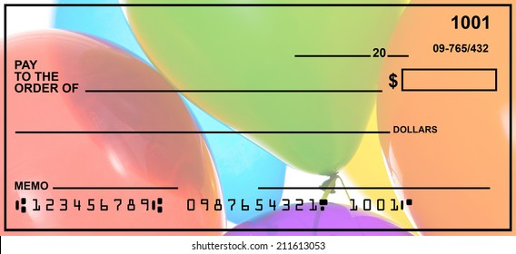Blank Check With Colorful Balloons Background.  Fake Numbers For Account Information.