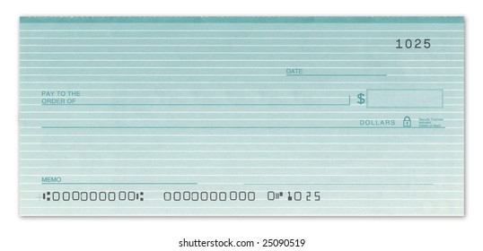 Blank check with fake numbers in green.