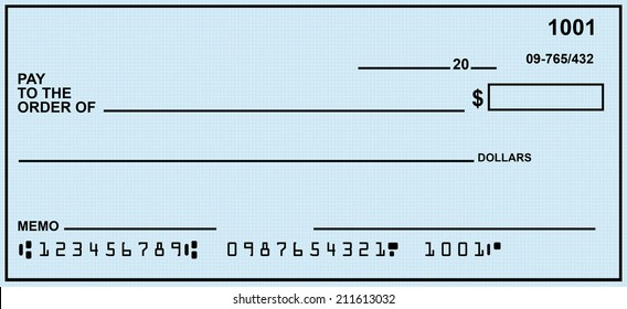 Blank Check With Generic Blue Background.  Fake Numbers For Account Information.