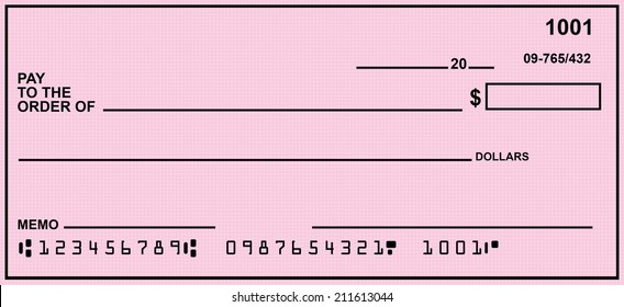 Blank Check With Pink Background.  Fake Numbers For Account Information.