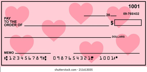 Blank Check With Valentine Hearts Background.  Fake Numbers For Account Information.
