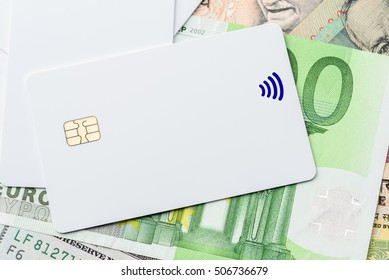 Blank chip card / smart card / integrated circuit card on banknotes. Hybrid cards can be contact or contactless, provide personal identification, authentication, data storage with strong security code