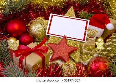 Blank Christmas card with gifts,Santa hat and decoration.