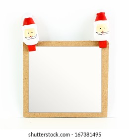 Blank Christmas card with Santa isolated on white