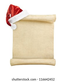 Blank christmas scroll witch Santa hat isolated on white background