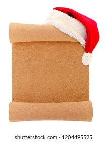 Blank christmas scroll witch Santa hat isolated on white background.