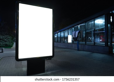 Blank citylight for advertising at the city around, copyspace for your text, image, design. Media marketing, ads, promo announcement, commercial propose or message. Banner, template white.