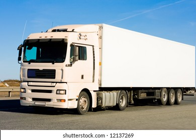 """blank clean truck on blue clouded sky background  - See similar images of this """"Business vehicles"""" series in my portfolio"""