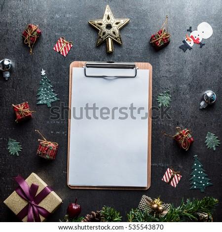 Blank Clipboard Christmas Decoration On Dark Stock Photo Edit Now