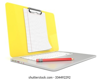 Blank clipboard lined paper on laptop. Side view. 3D render illustration isolated on white background