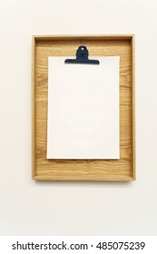 Blank clipboard menu interiror isolated on white wall