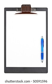 A blank clipboard with a pen isolated on white background
