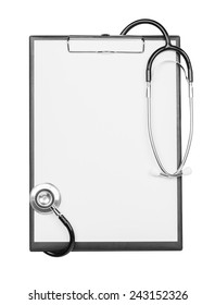 blank clipboard with stethoscope isolated on white background with clipping path
